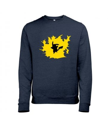 Yellow Pikachu Silhouette Adult Mens Heather Sweatshirt