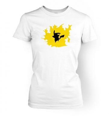 Yellow Pikachu Silhouette womens t-shirt