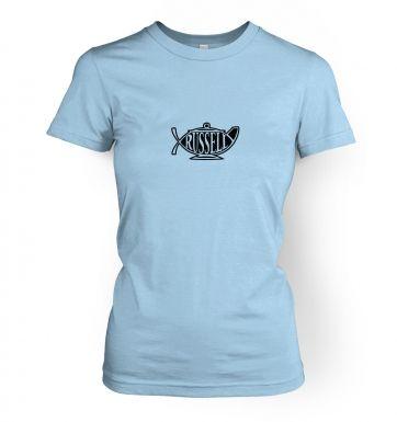 Bertrand Russell Teapot Ichthys women's t-shirt