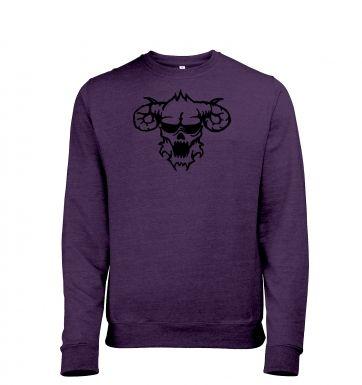 Black Outline Demons Head heather sweatshirt