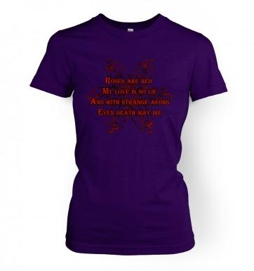 Cthulhu Strange Aeons Valentine Poem women's t-shirt