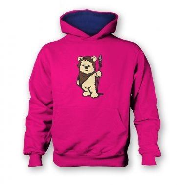 Cute Ewok  kids hoodie (contrast)
