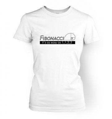 Fibonacci Is As Easy As 1,1,2,3   womens t-shirt