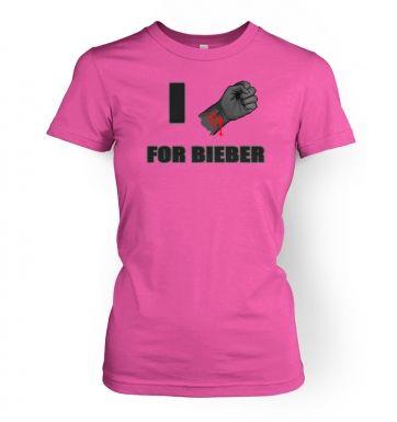 Fist I Cut For Bieber  womens t-shirt