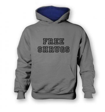 Free Shrugs   kids hoodie (contrast)