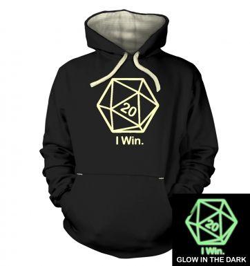 D20 I Win (glow in the dark) hoodie (premium)