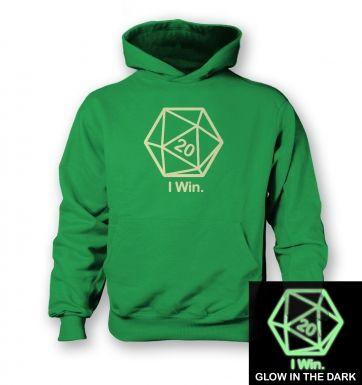 D20 I Win (glow in the dark) kids' hoodie