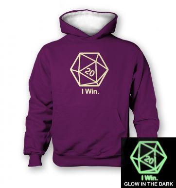 D20 I Win (glow in the dark) kids' hoodie (contrast)