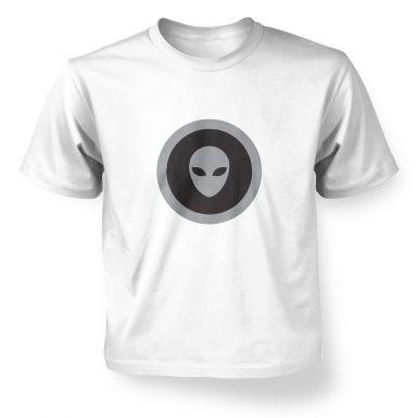 Grey Alien Head Circle Black Fill kids' t-shirt