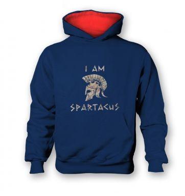 I Am Spartacus   kids hoodie (contrast)