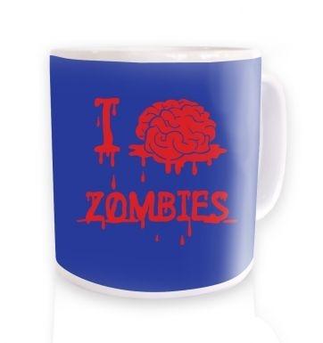 I brain zombies blue mug