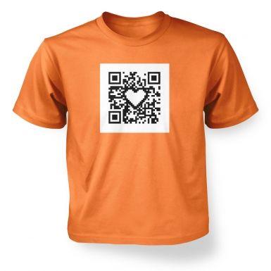 ' QR code heart kids t-shirt