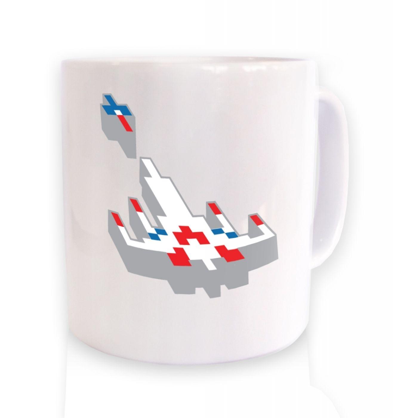 3D Retro Spaceship ceramic coffee mug