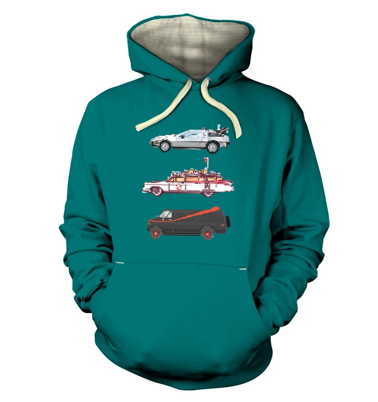 80s Pixel Cars premium hoodie by Something Geeky
