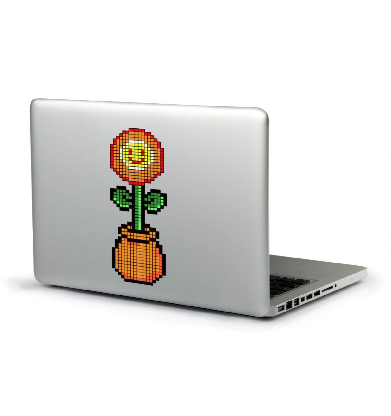 8-bit Red Flower laptop sticker