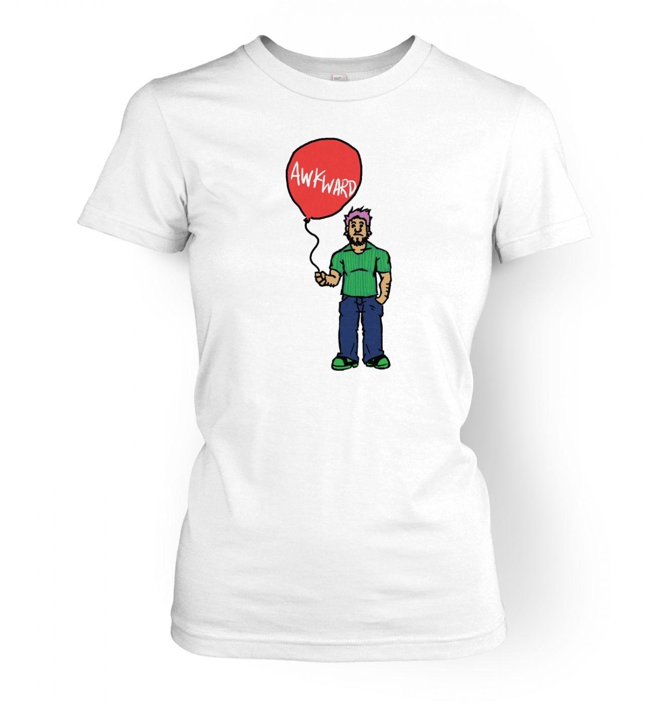Awkward Balloon Guy women's fitted t-shirt