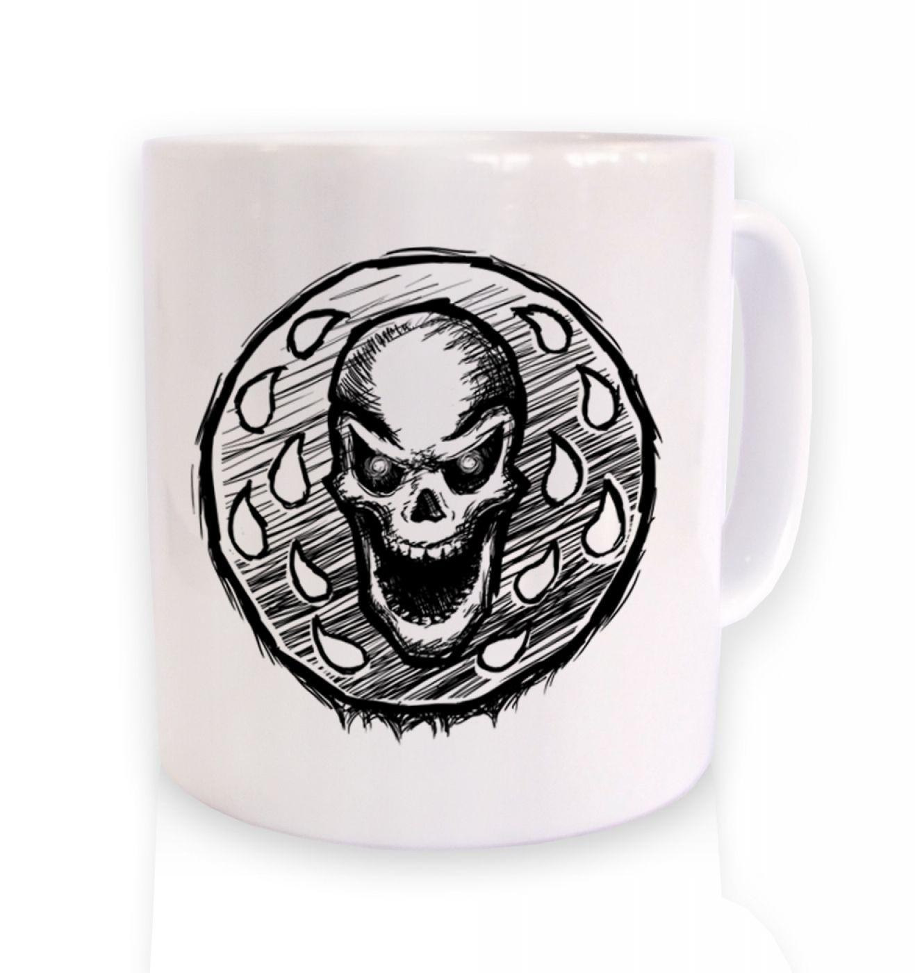 Skull Coin ceramic coffee mug