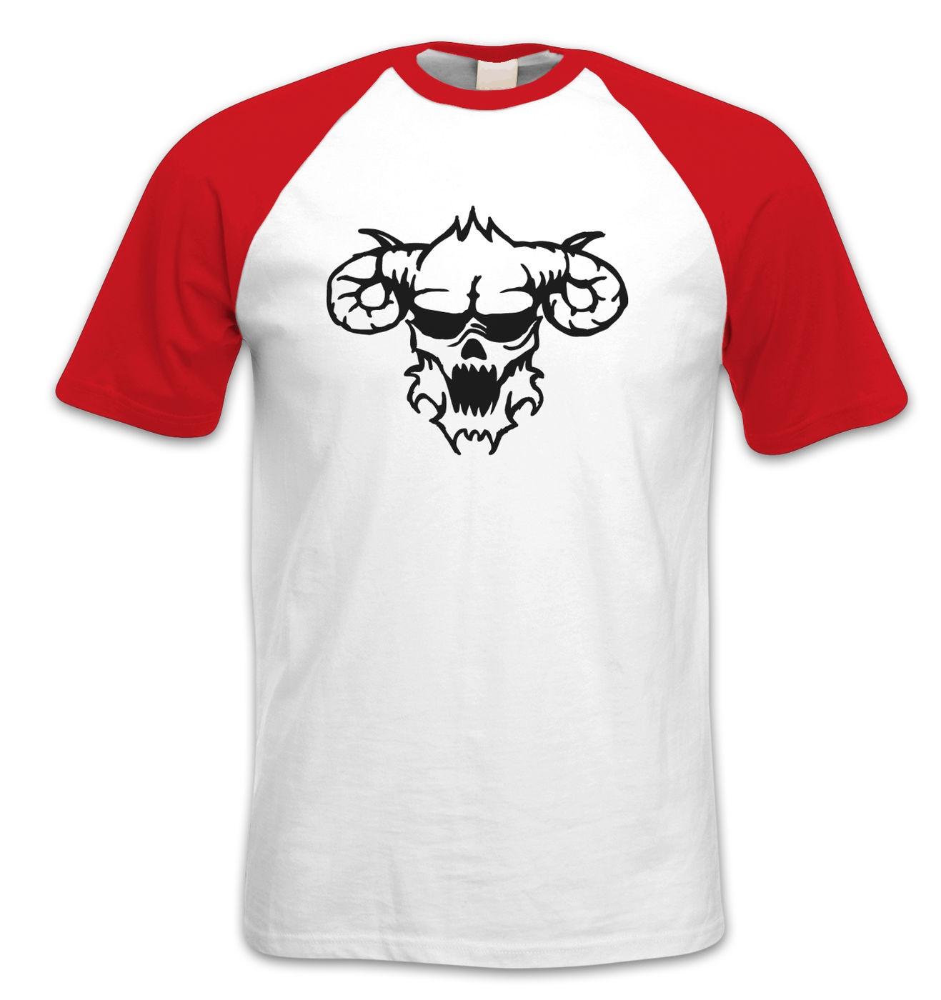 Black Outline Demon's Head short-sleeved baseball t-shirt