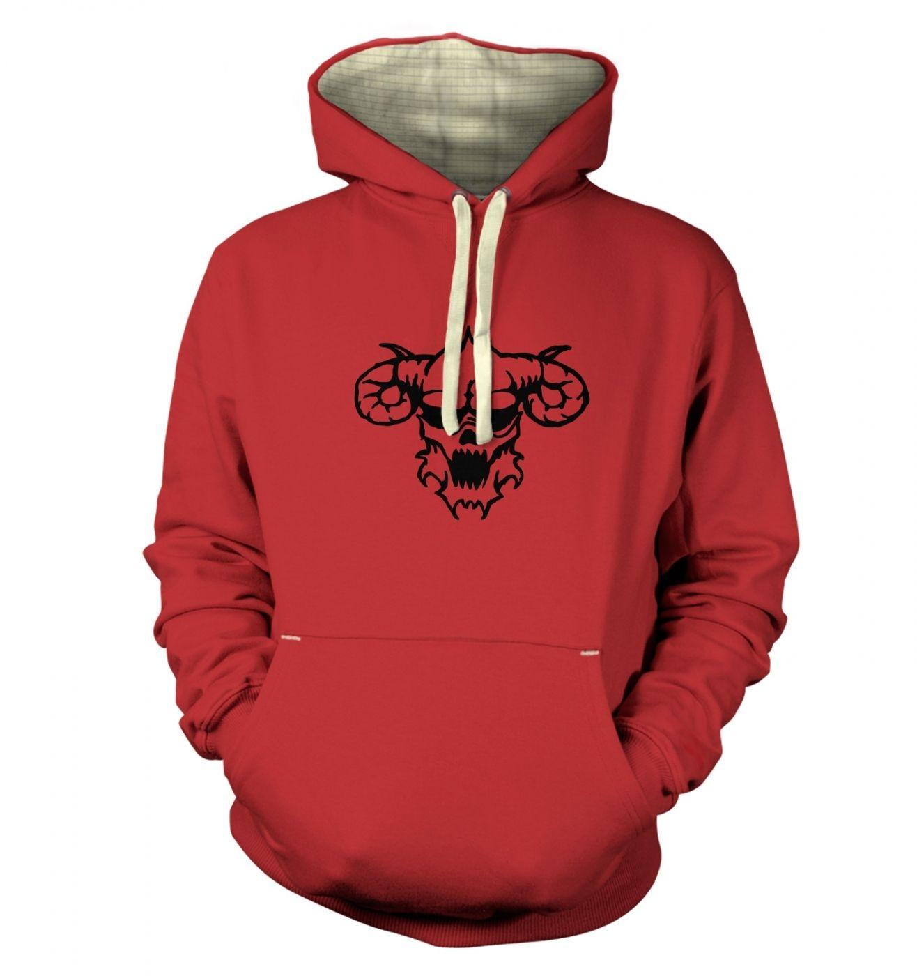 Black Outline Demon's Head premium hoodie