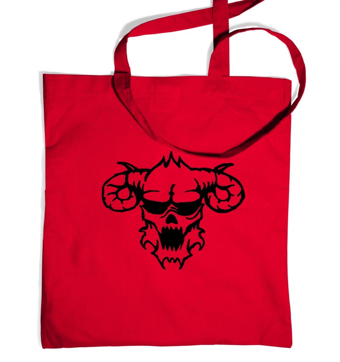 Black Outline Demon's Head tote bag