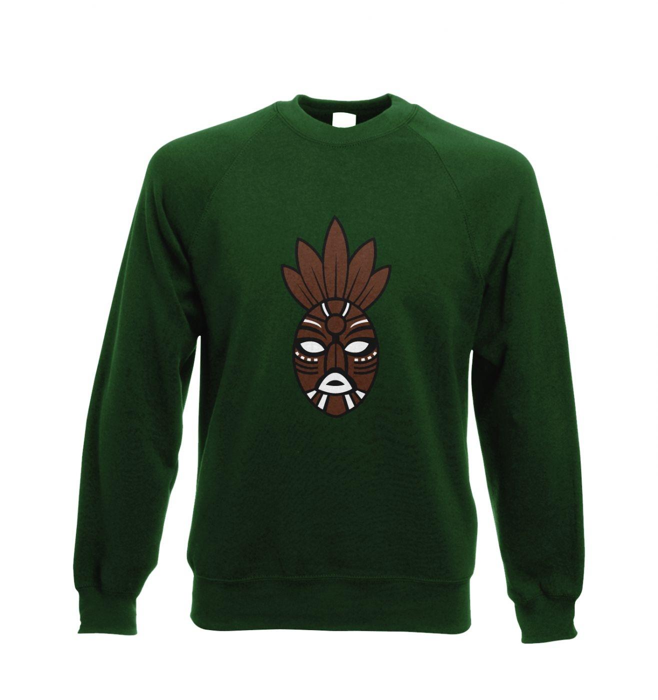 Brown Tribal Mask adult crewneck sweatshirt