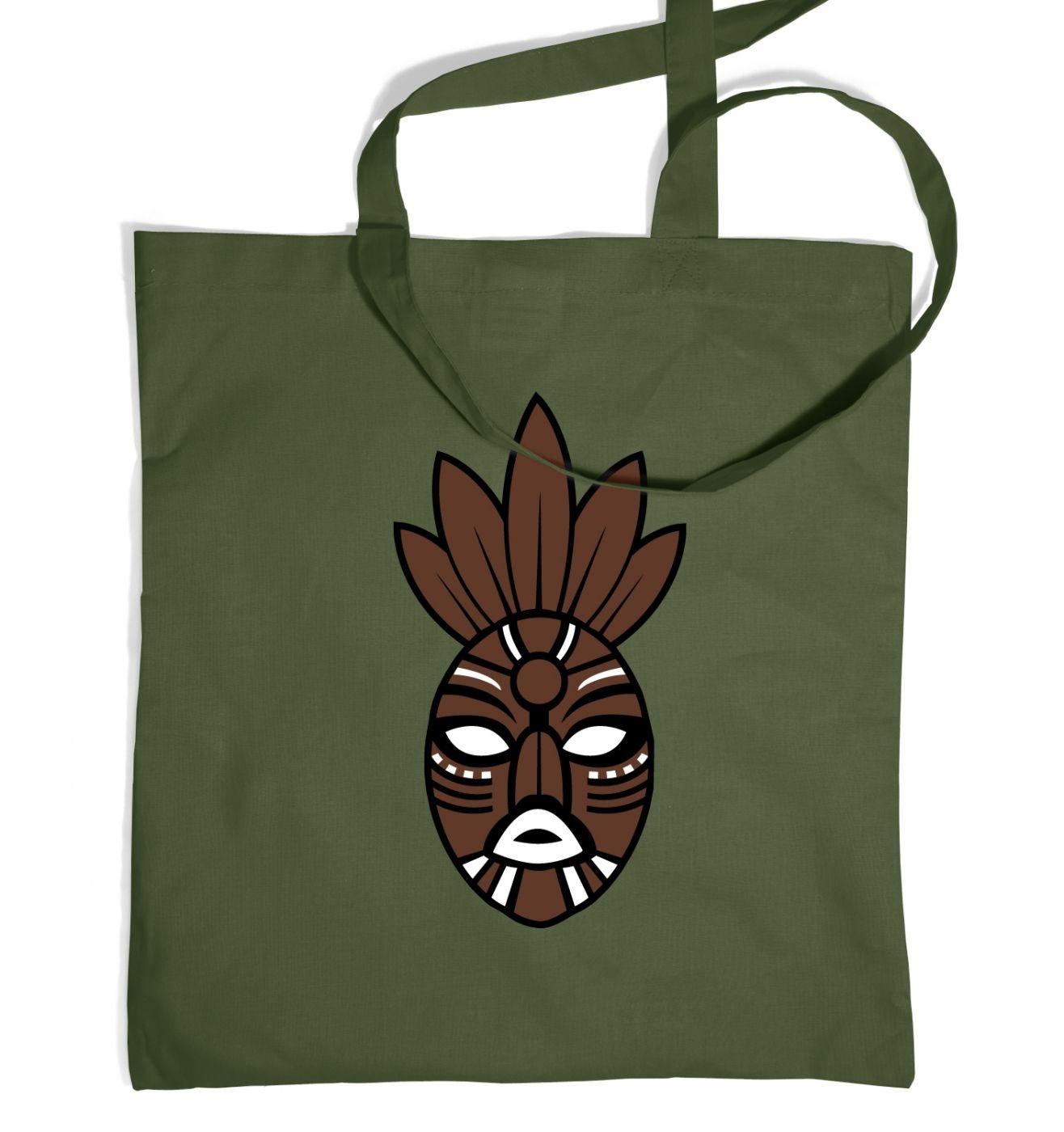 Brown Tribal Mask tote bag