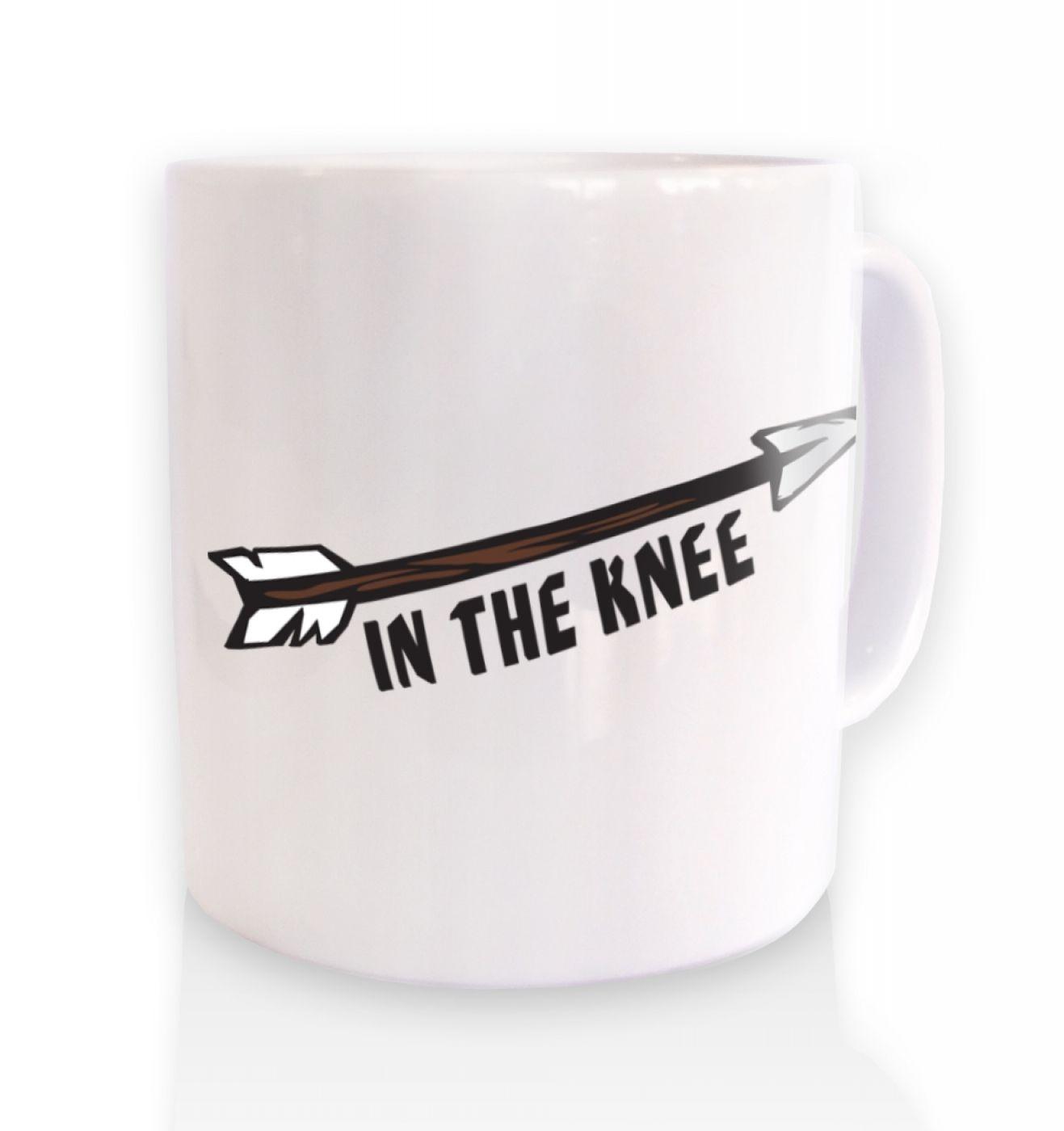 Cartoon Arrow In The Knee ceramic coffee mug