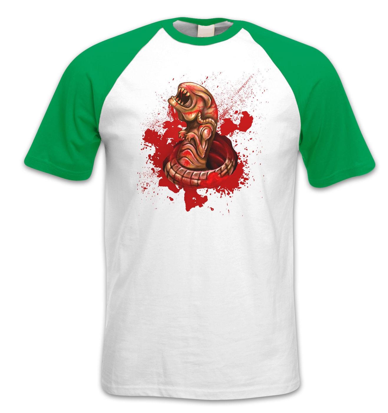 Chestburster Costume short sleeve baseball t-shirt by Something Geeky