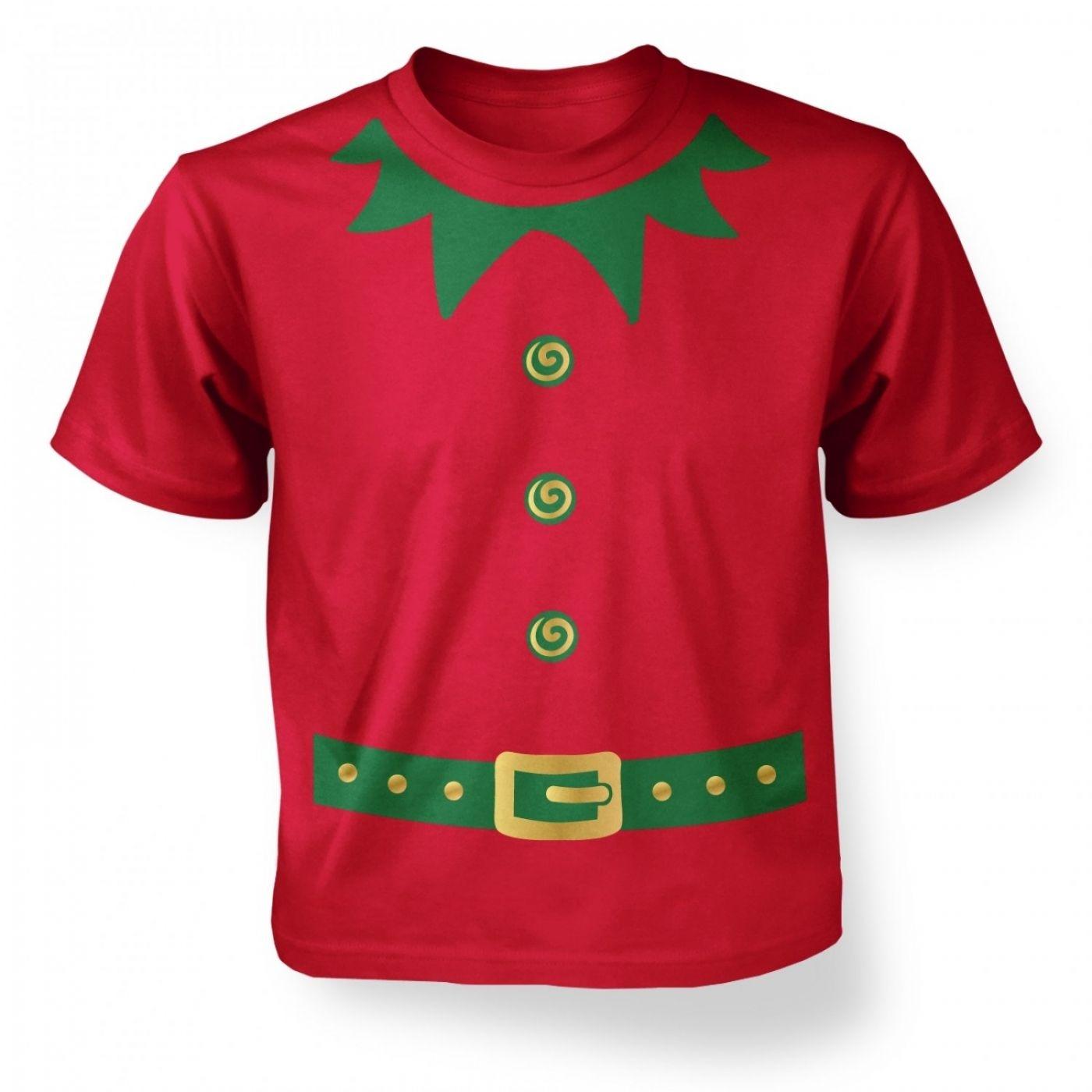 Christmas Elf Costume green detail kids t shirt Somethinggeeky