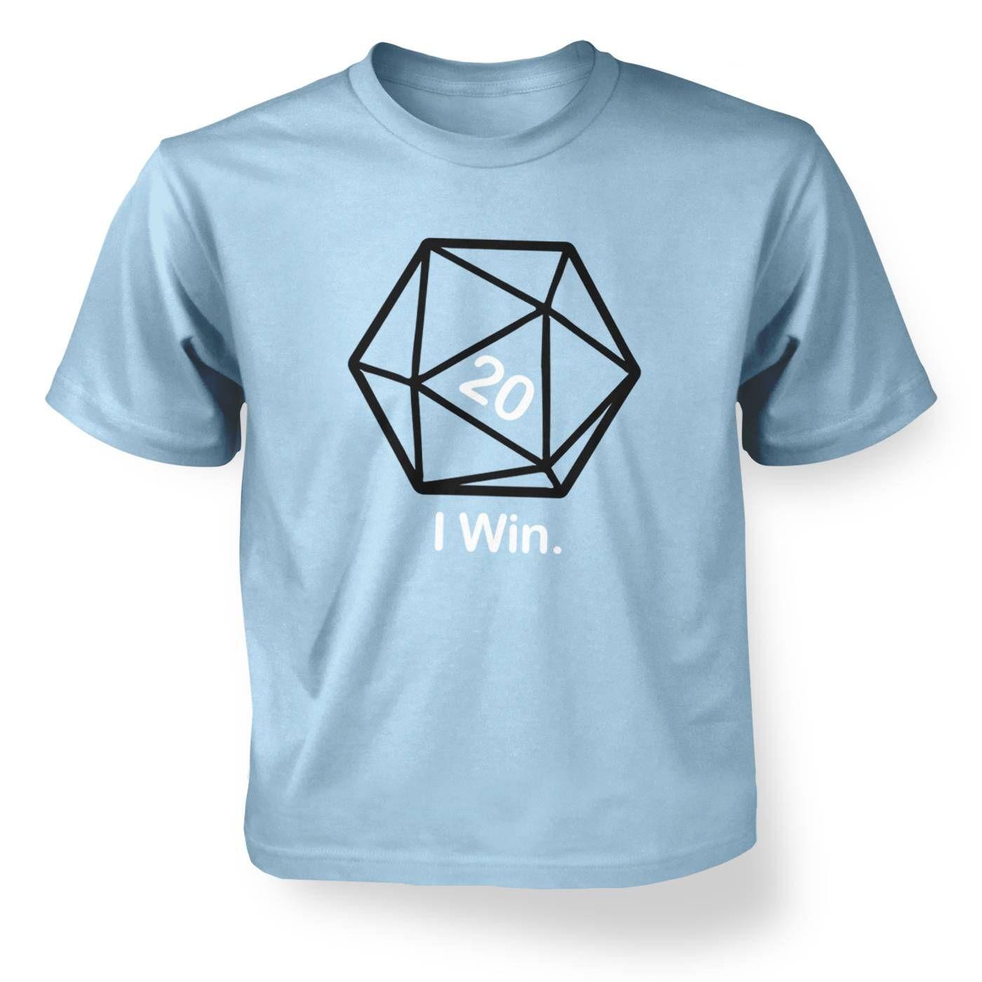 D20 I Win kids' t-shirt