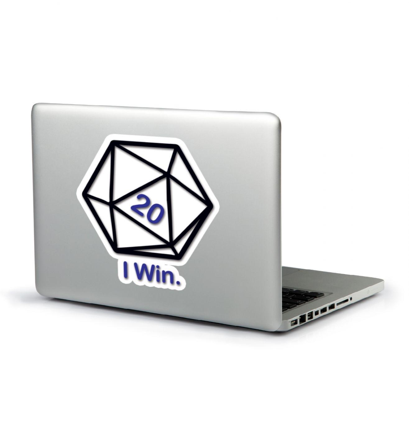 D20 I Win laptop sticker