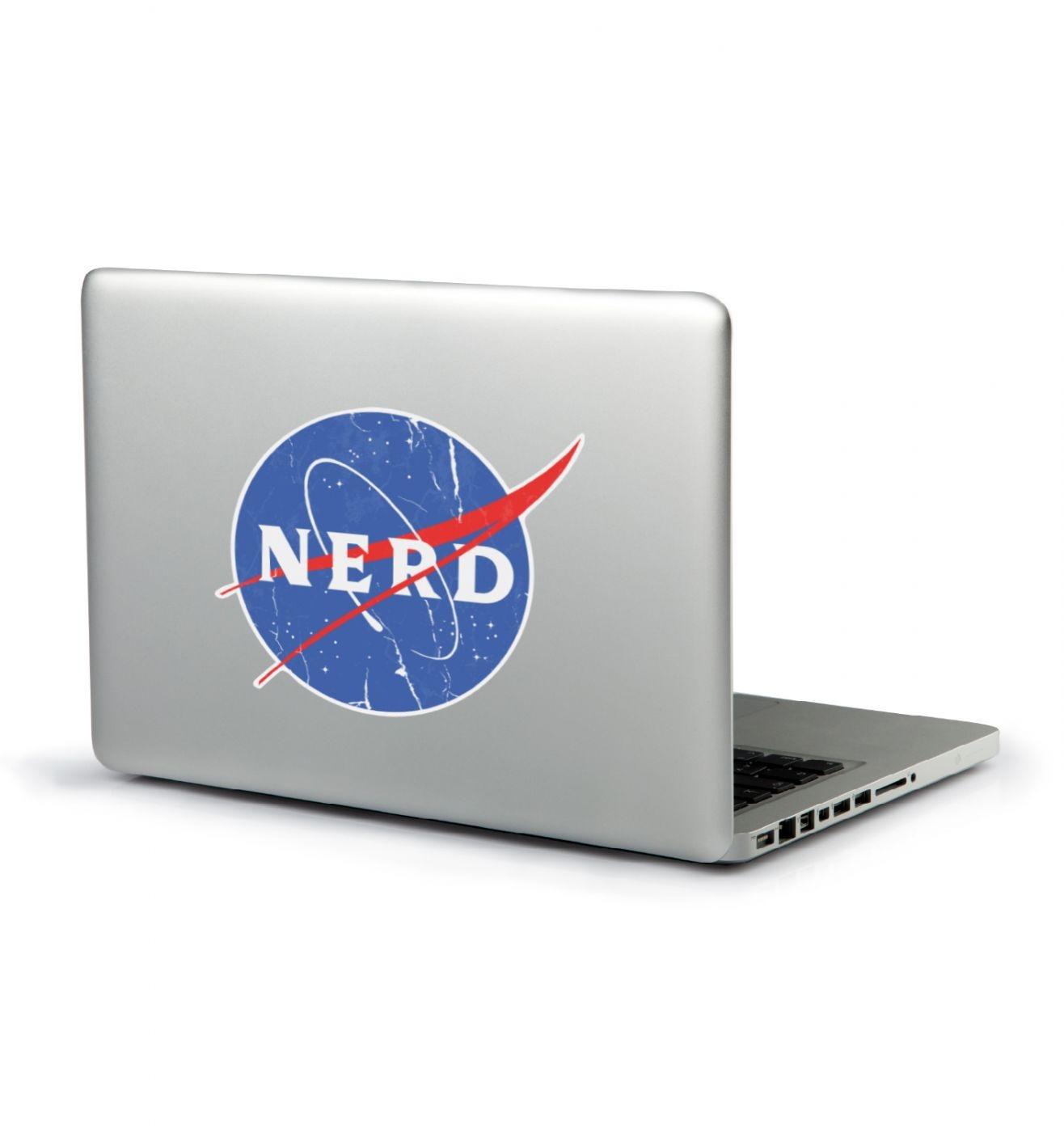 Distressed NASA NERD laptop sticker