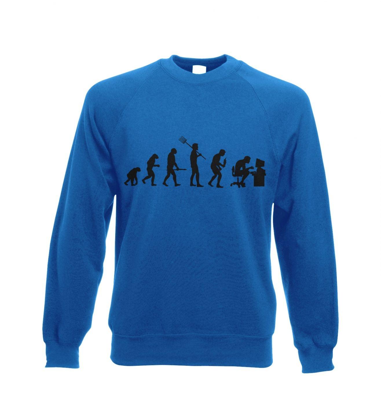 Evolution of a geeky man (black detail) Adult Crewneck Sweatshirt
