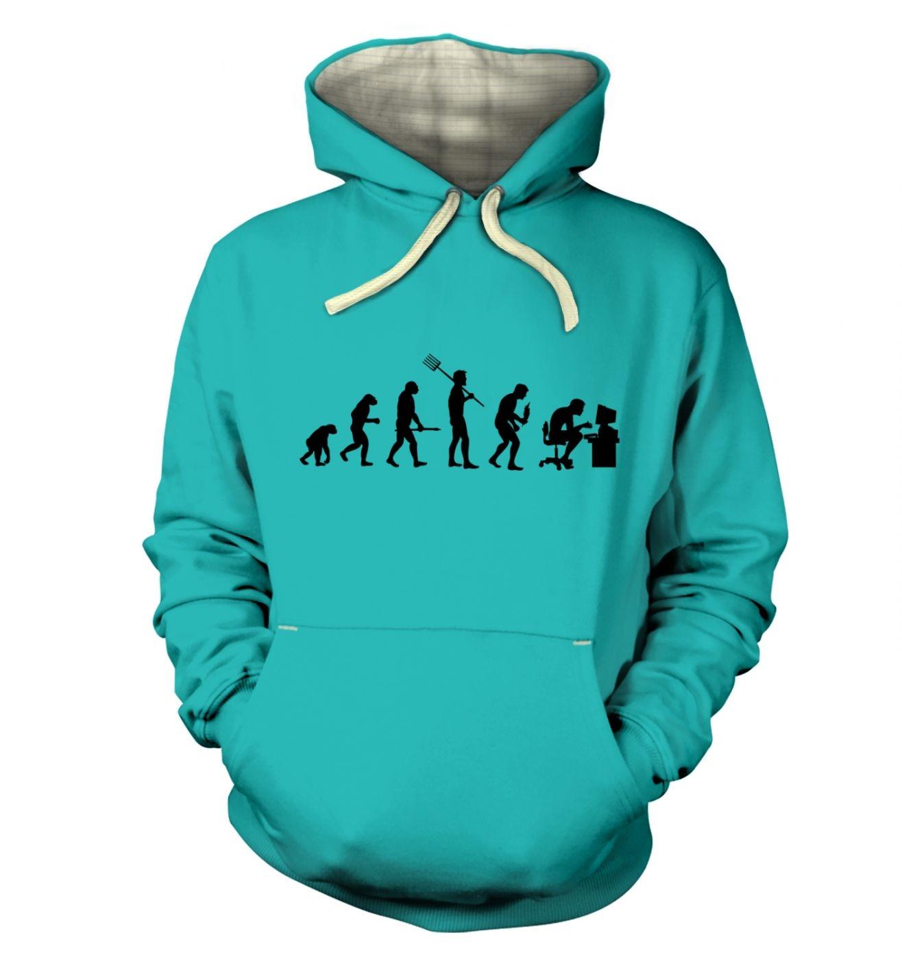 Evolution of a geeky man (black detail) hoodie