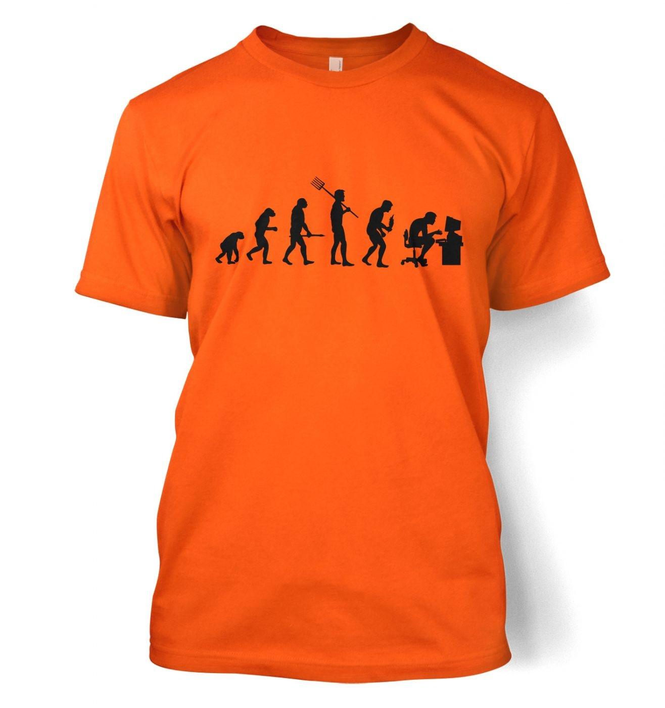 Evolution of a geeky man (black detail) t-shirt