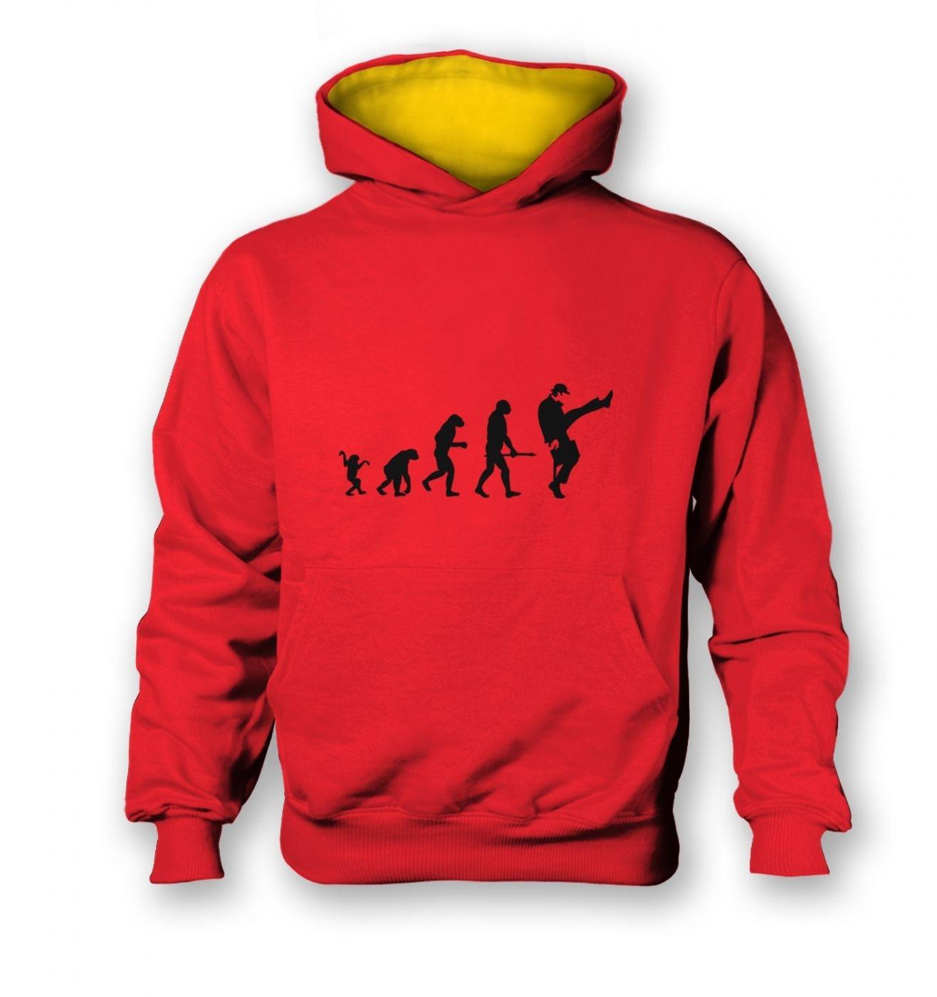 Evolution Of Silly Walks kids contrast hoodie