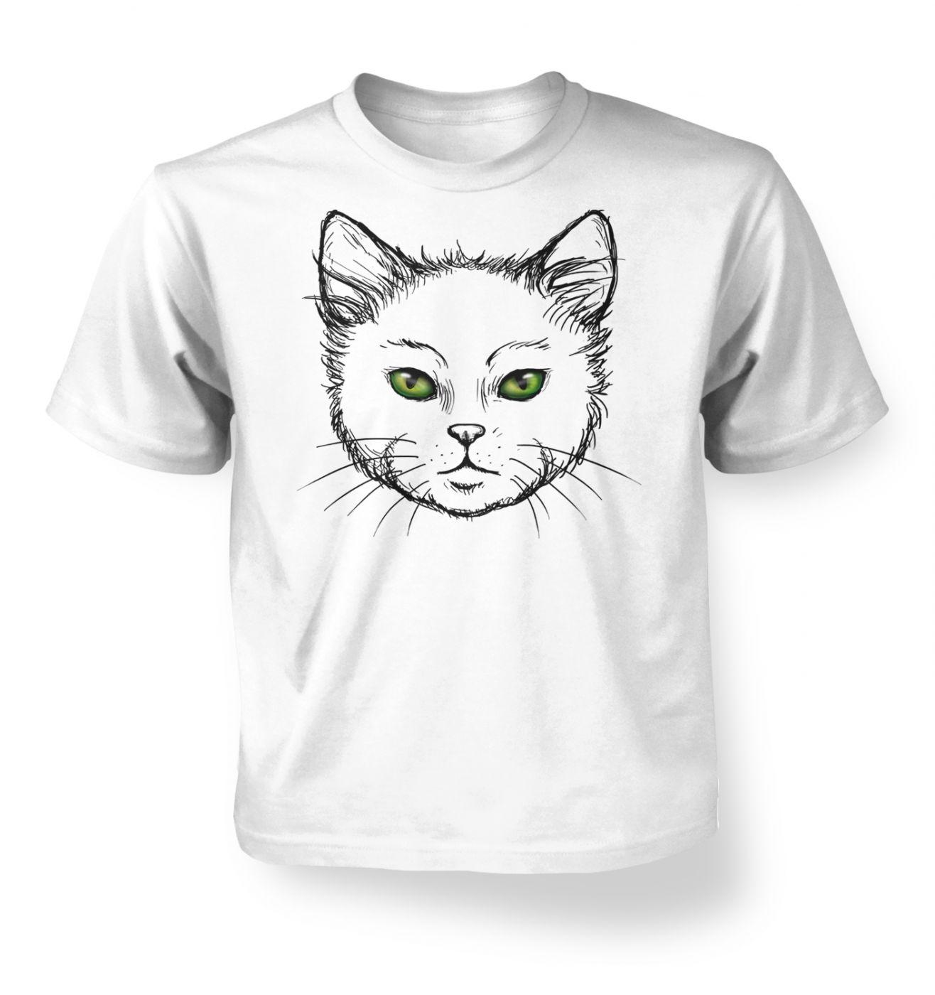 Eyes Of The Cat kids t-shirt (white) - Cute cat kids tshirt
