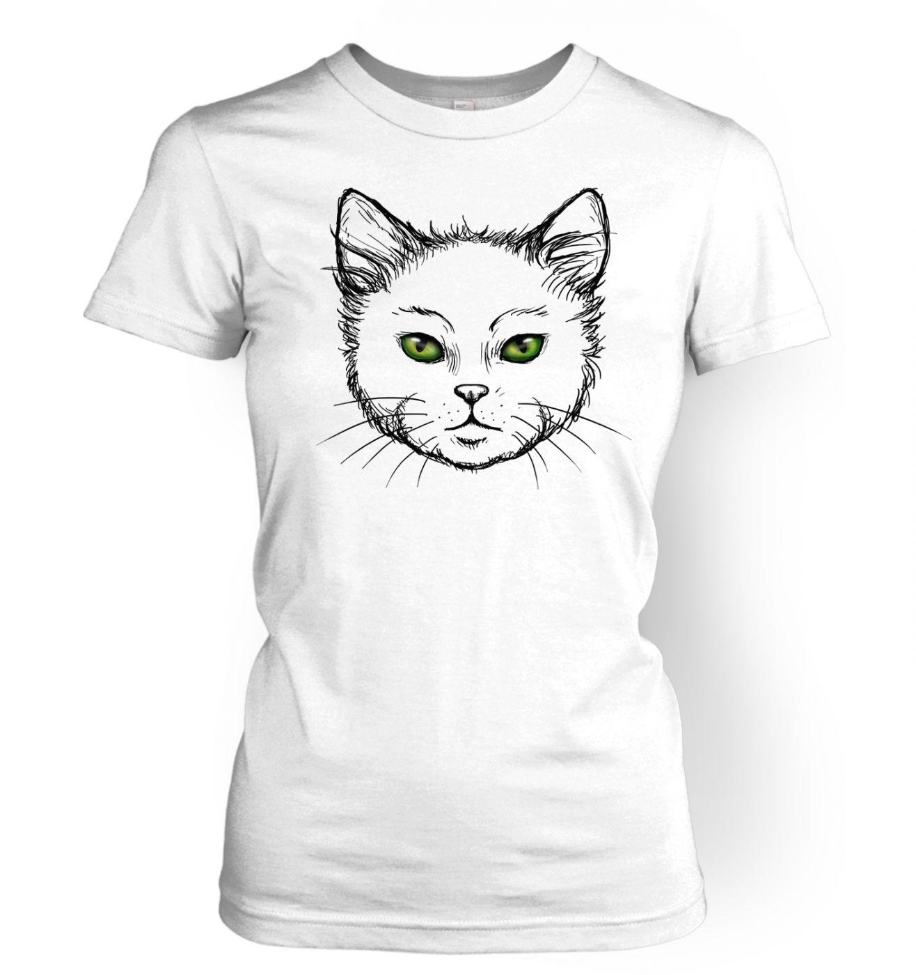 Eyes Of The Cat women's t-shirt (white) - cute cat tshirt