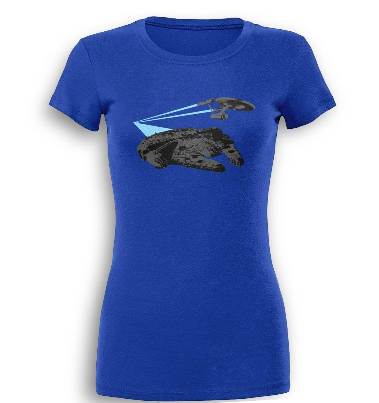 Falcon vs Enterprise premium womens t-shirt by Something Geeky