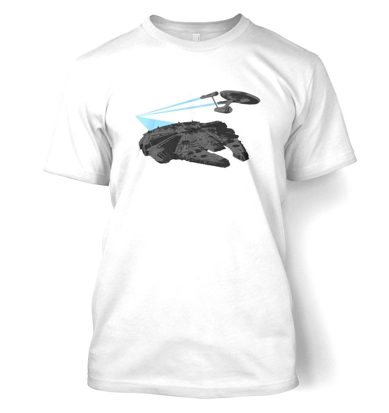 Falcon vs Enterprise t-shirt by Something Geeky