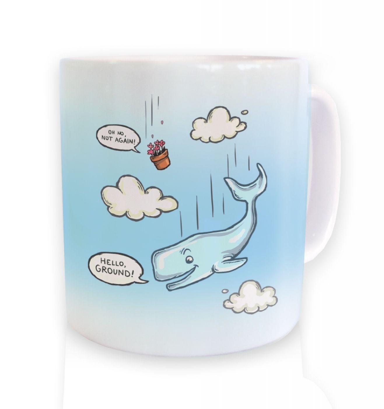 Falling Whale ceramic coffee mug