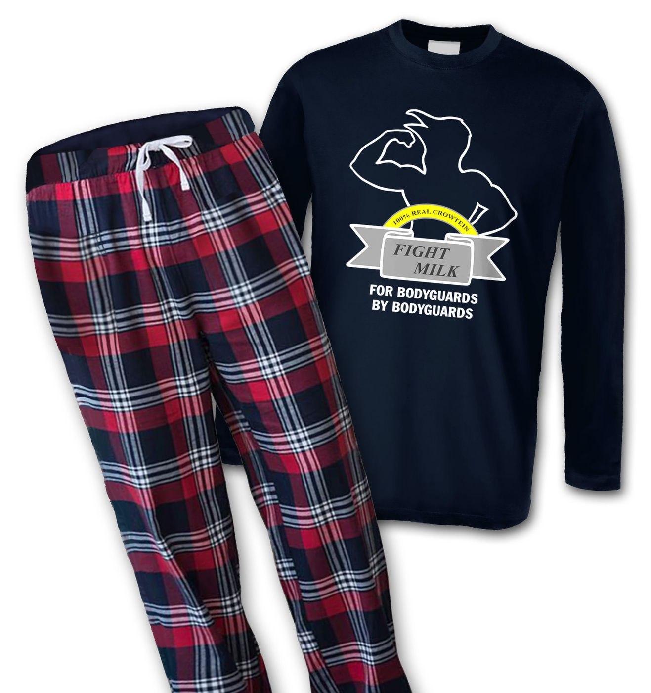 Fight Milk mens long sleeve pyjamas by Something Geeky