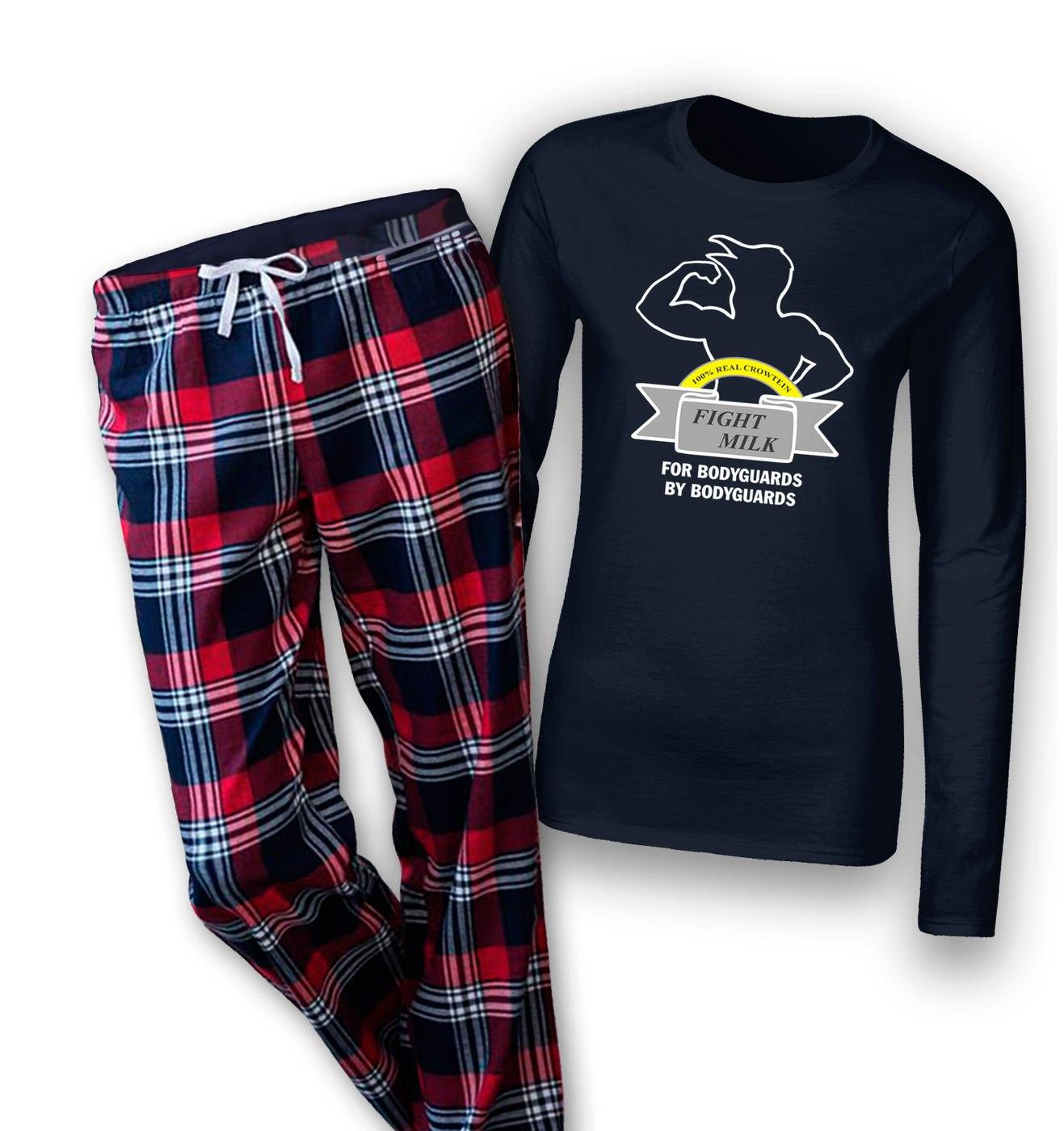 Fight Milk womens long sleeve pyjamas by Something Geeky
