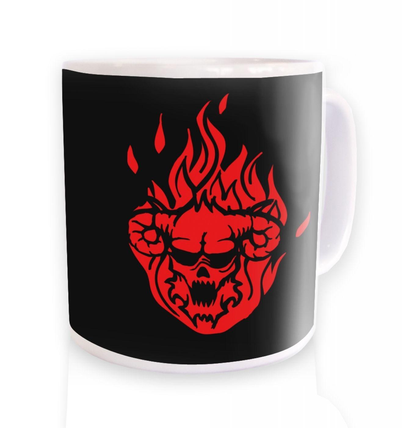 Flaming Demon's Head ceramic coffee mug