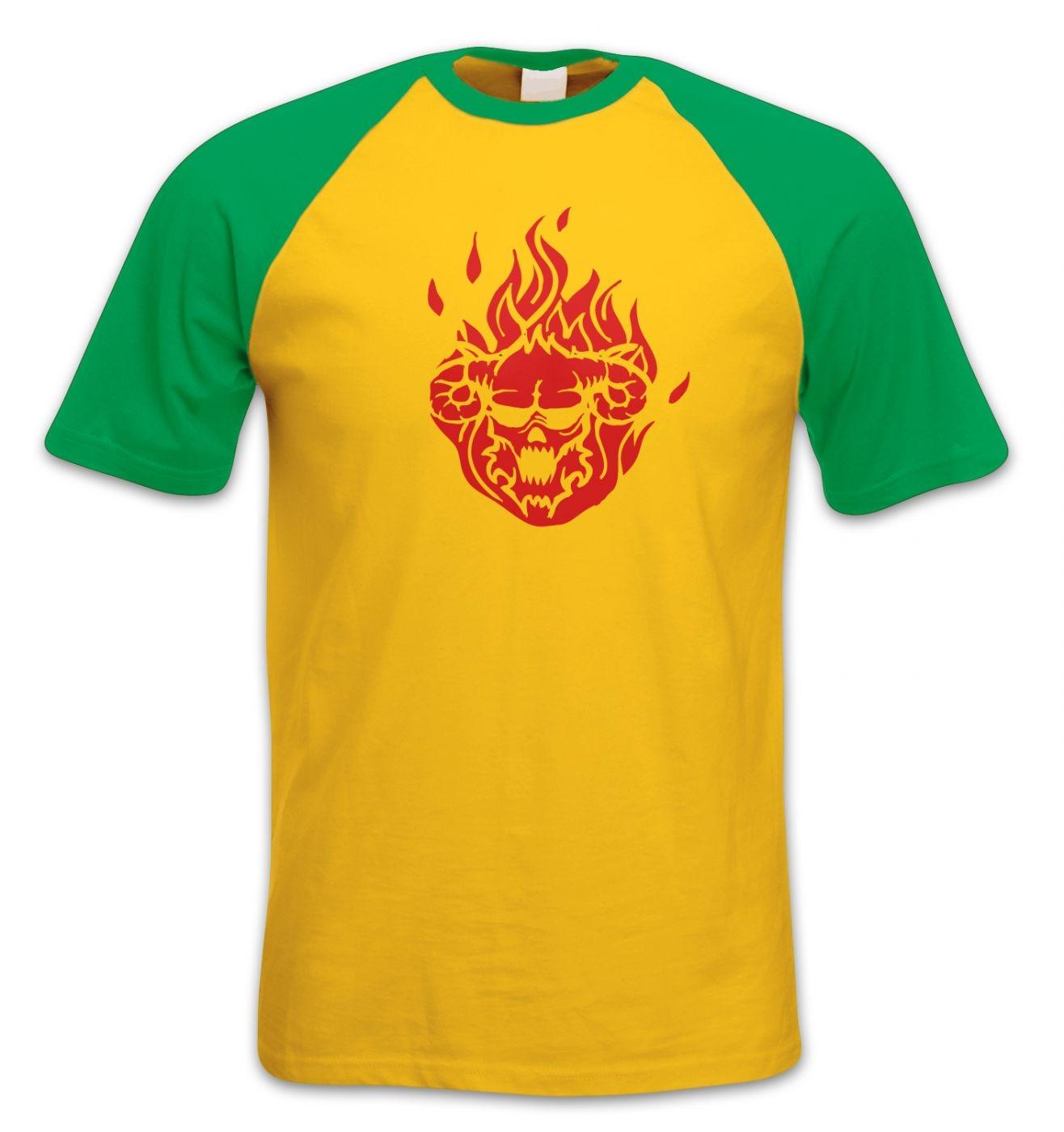 Flaming Demon's Head short-sleeved baseball t-shirt
