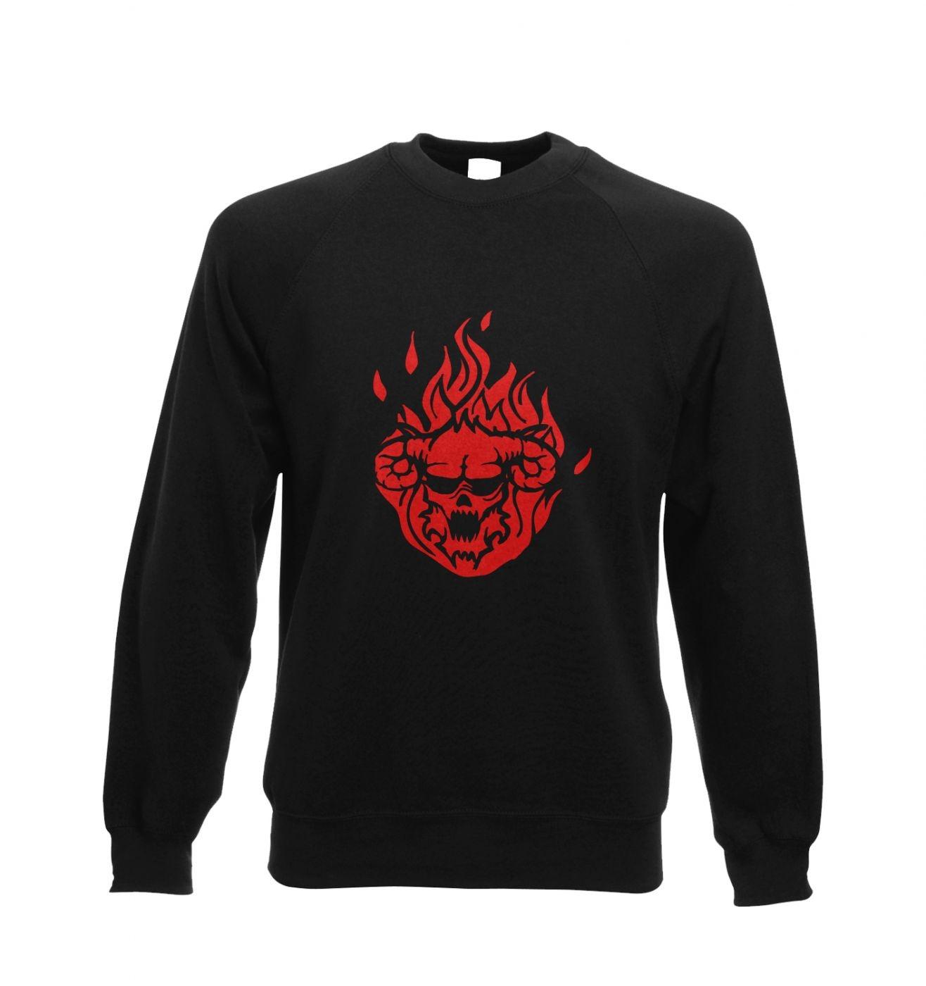 Flaming Demon's Head crewneck sweatshirt