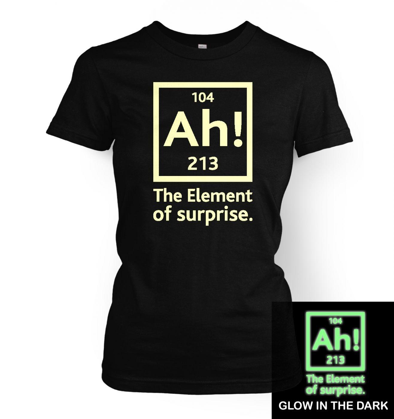 cd9348797 Ah! The Element of Surprise (glow in the dark) women's t-shirt ...