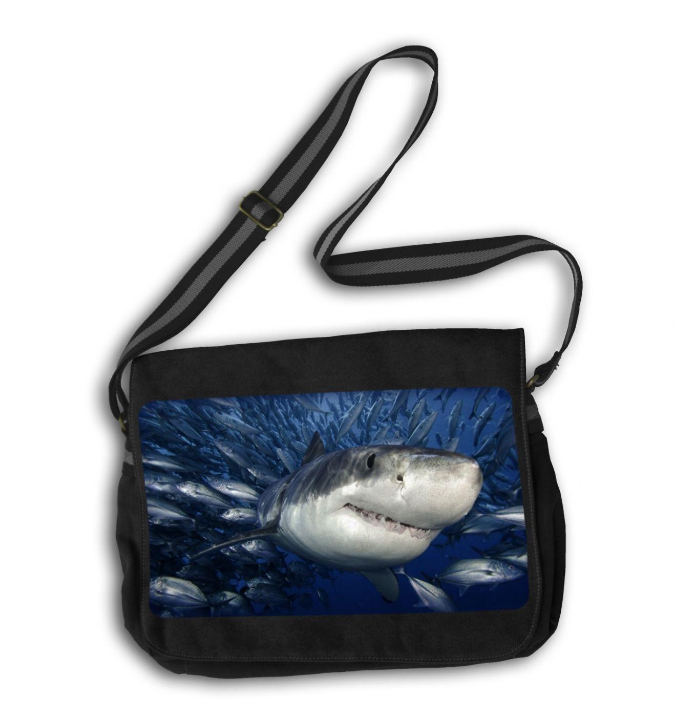 Great White Shark messenger bag - Shark school bag
