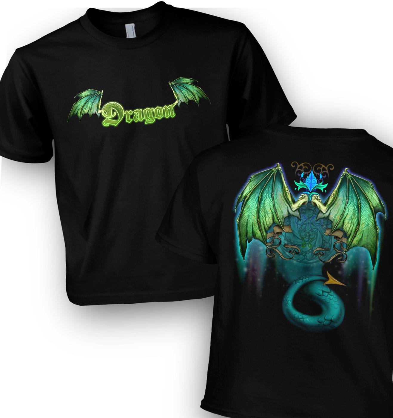 Green Dragon kids' t-shirt with stunning dragon wings backprint