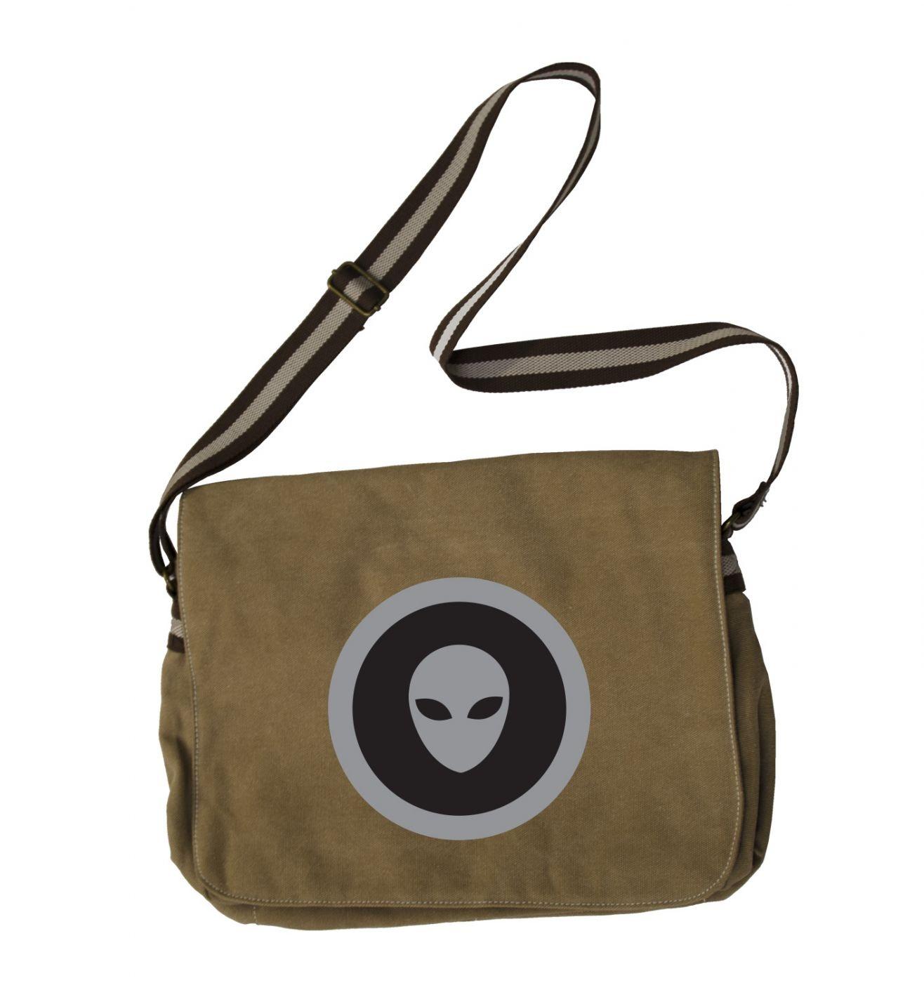 Grey Alien Head Black Fill messenger bag - sci fi school bag